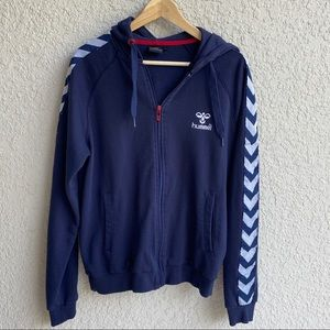 Hummel men's zip up navy blue hoodie